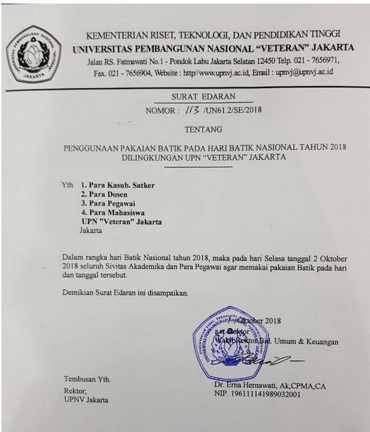 Penggunaan Pakaian Batik Pada Hari Batik Nasional Tahun 2018